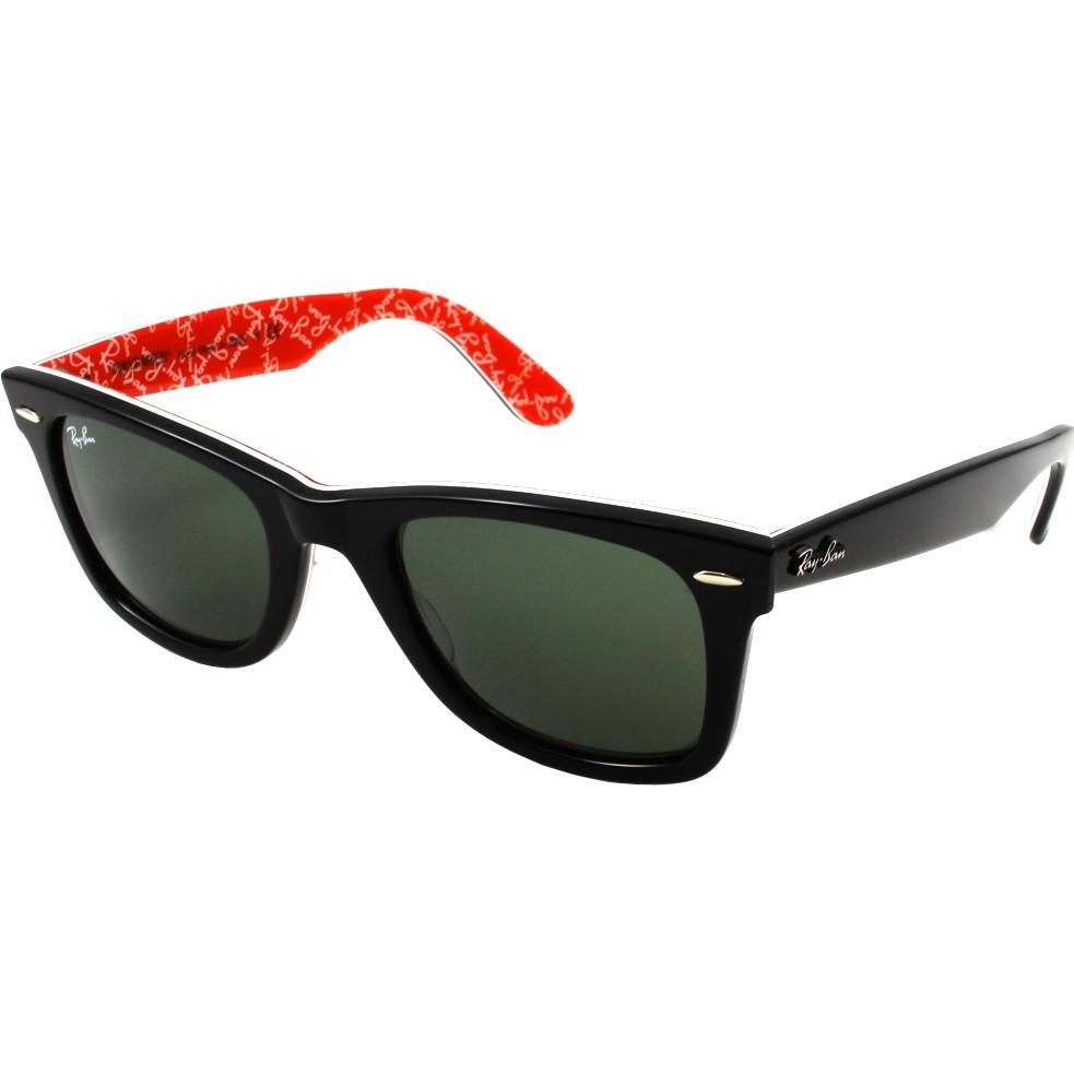 bb1eb255307 RayBan RB2140 47 Original Wayfarer Black On Red Texture 1016 Sunglasses