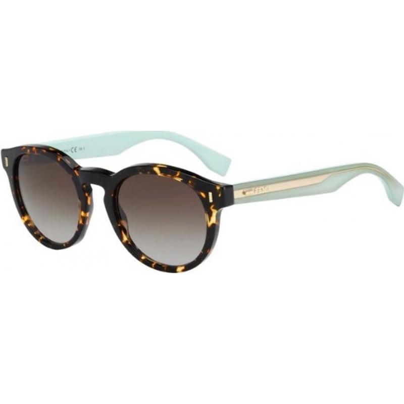 Fendi 247706HK450IF Fargeblokk ff 0085-s HK4 hvis oppdaget Havana grønne solbriller
