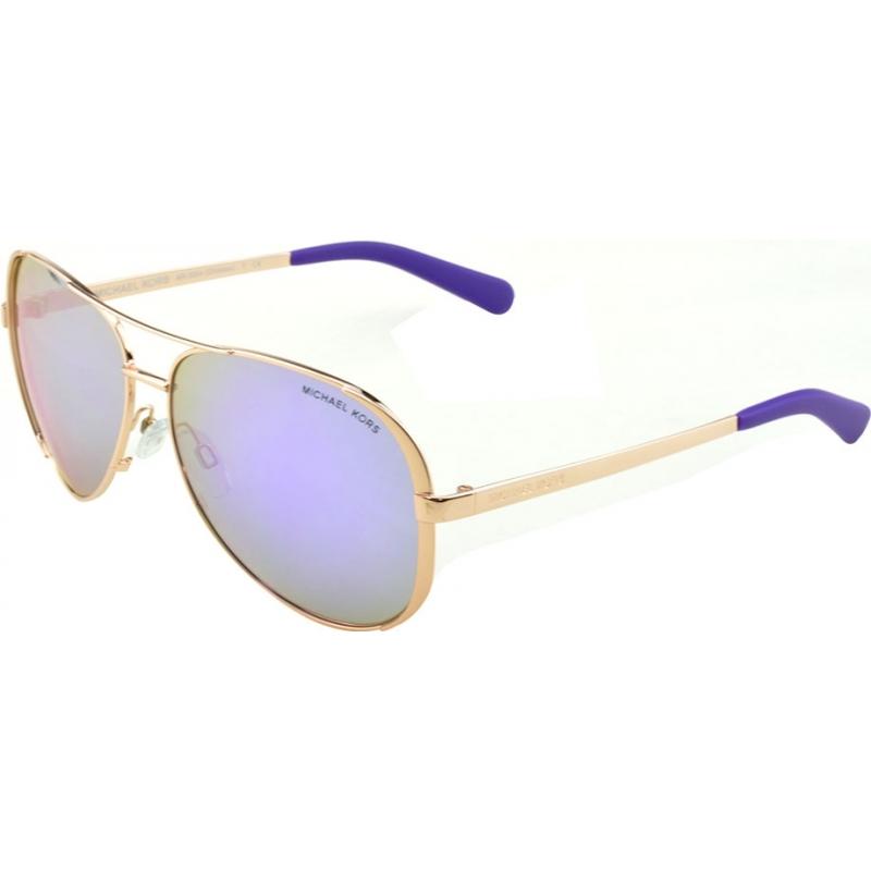 Michael Kors MK5004-59-10034V MK5004 59 Chelsea Rose Gold 10034V Purple Mirrored Sunglasses