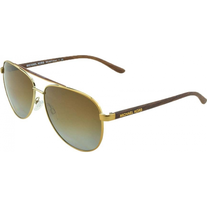 65324b7fea Michael Kors MK5007 59 Sporty Gold Wood 1043T5 Polarized Sunglasses