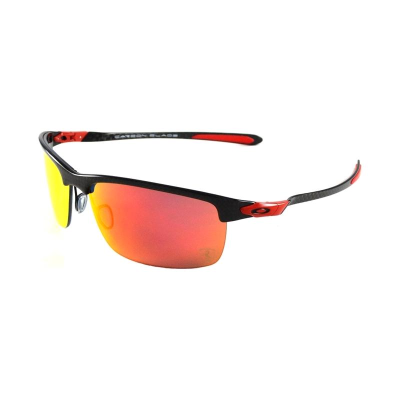 559b4bbc24 Oakley OO9174-06 Ferrari Carbon Blade Polished Carbon - Ruby Iridium  Polarized Sunglasses