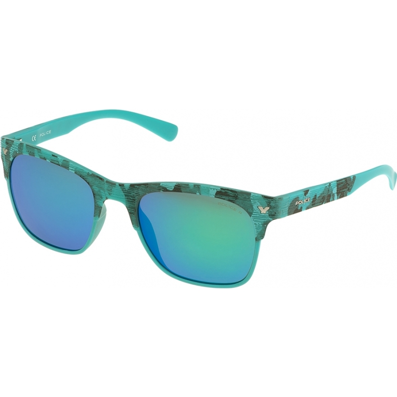 Police S1950-GEEV Mens Game 2 S1950-GEEV Semi Matt Turquoise Camouflage  Polarized Sunglasses d78bc6d96855