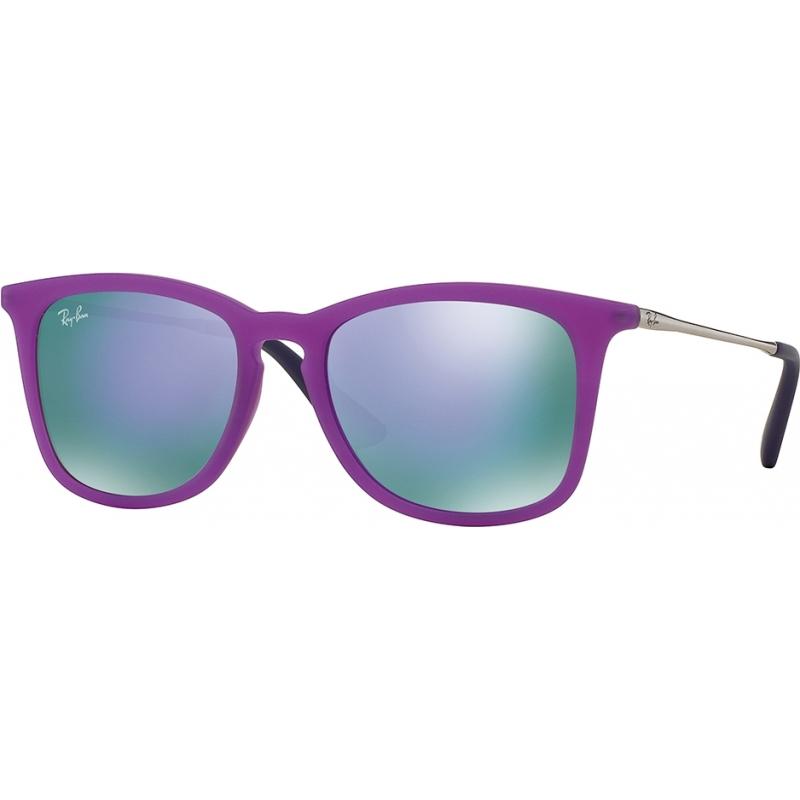5517ad511ee RayBan Junior RJ9063S 48 Violet Fluo Transparent Rubber 70084V Mirror  Sunglasses