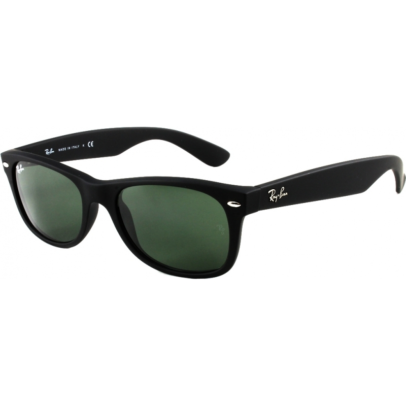RayBan RB2132-52-622-19 RB2132 52 New Wayfarer Rubber Black 622-19 Green Mirror Sunglasses