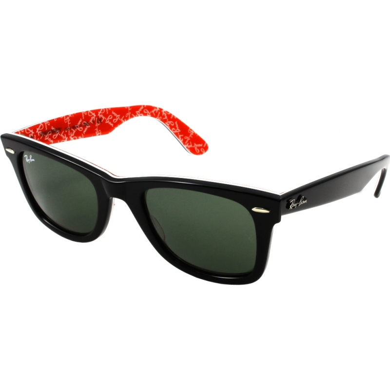 a8297e5fb2 RayBan RB2140 47 Original Wayfarer Black On Red Texture 1016 Sunglasses