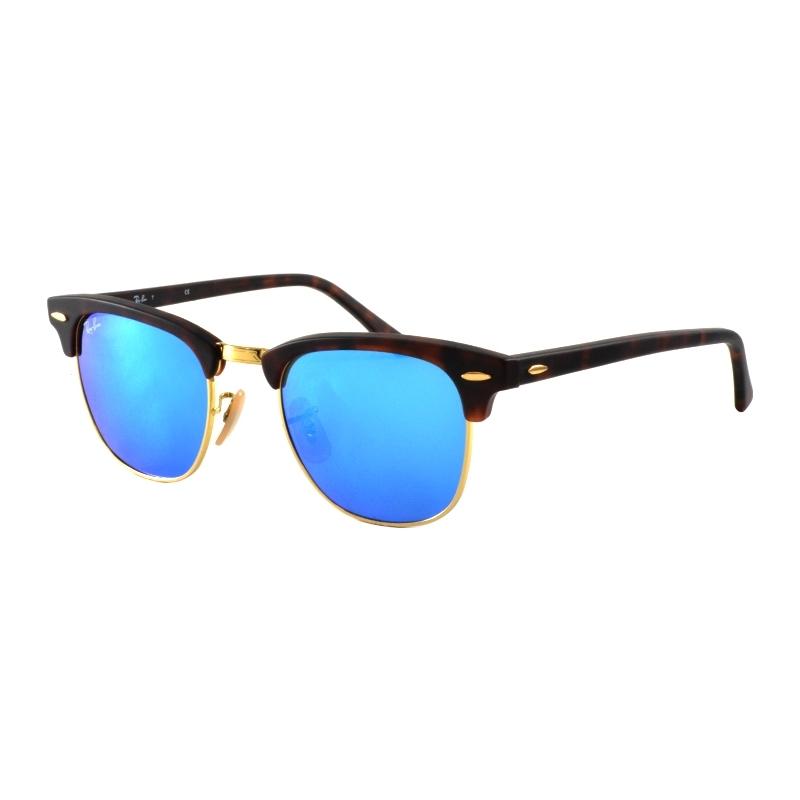RayBan RB3016-49-114517 Rb3016 49 clubmaster písek tortoiseshell-zlatá 114517 modré zrcadlové sluneční brýle