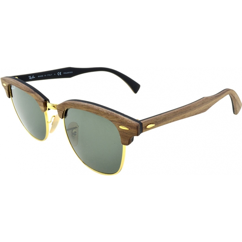 RayBan RB3016M-51-118158 RB3016M 51 Clubmaster Wood Walnut Rubber Black 118158 Polarized Sunglasses