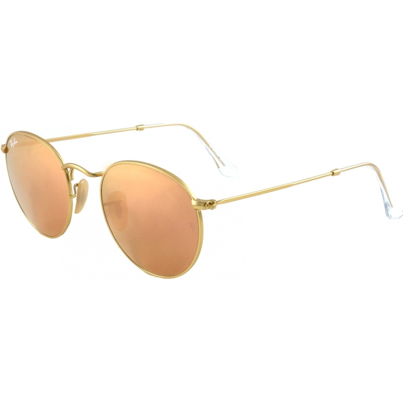 RayBan RB3447 50 Round Metal Matte Gold 112-Z2 Mirrored Sunglasses 8d6ab41418