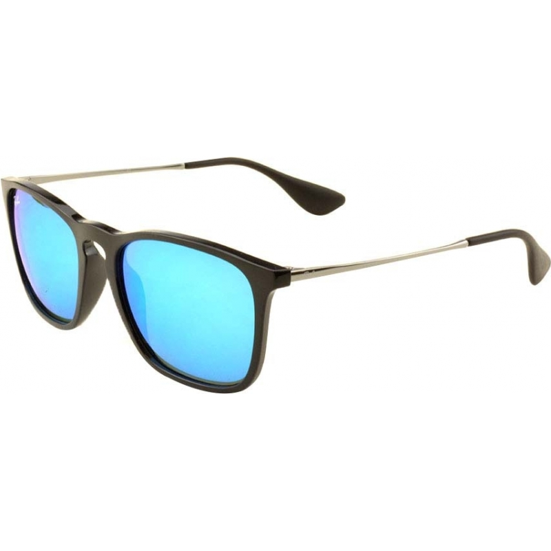 160501e44af RayBan RB4187 54 Chris Black 601-55 Blue Mirrored Sunglasses