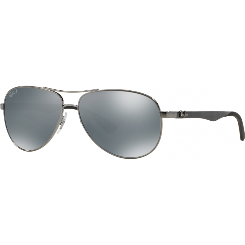 RayBan RB8313-58-004-K6 RB8313 58 Tech Carbon Fibre Gunmetal 004-K6 Silver Mirror Polarized Sunglasses