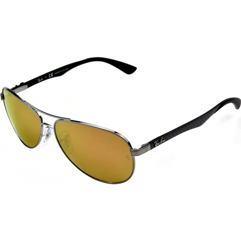 RayBan RB8313-58-004-N3 RB8313 58 Tech Carbon Fibre Gunmetal 004-N3 Gold Mirror Polarized Sunglasses