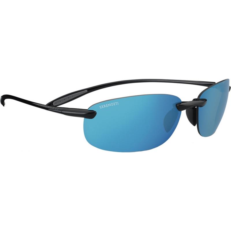 Serengeti 8270 Nuvino Shiny Black Polarized PhD 555nm Blue Mirror Sunglasses