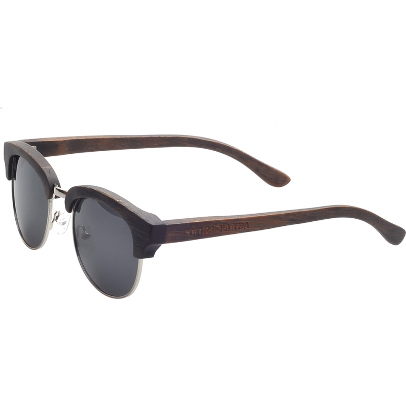 Swole Panda SP001 Black Polarized Bamboo Clubmaster Sunglasses