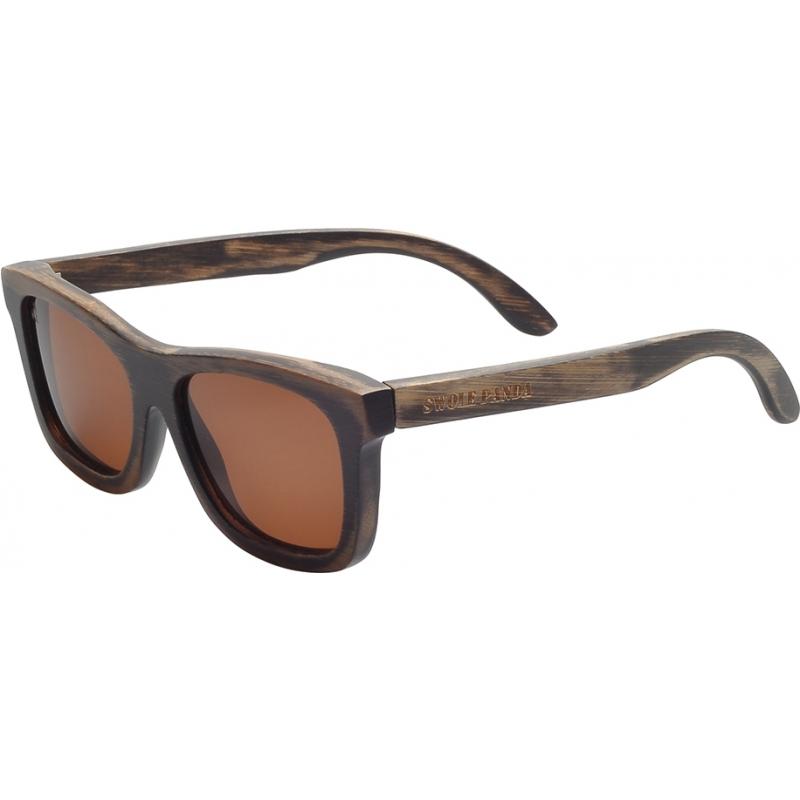 Swole Panda SP004 Dark Brown Polarized Bamboo Wayfarer Sunglasses